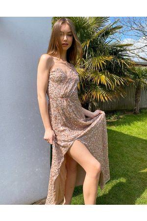 Maya Robe longue asymétrique et ornementée - Blush