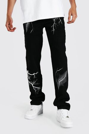 Boohoo Tall Relaxed Fit Lightning Print Jean Homme
