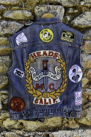Etsy - Linsoumis Biker Gang Cut Handembroidered With Sin Printed Liner