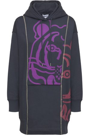 Kenzo Mini-robe En Coton Imprimé Tigre À Capuche