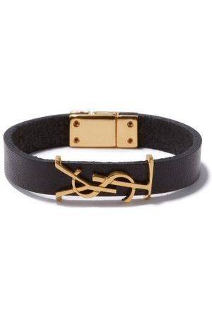 Saint Laurent Bracelet en cuir à plaque YSL