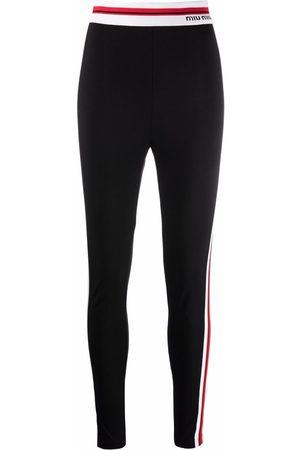 Miu Miu Logo-trim striped leggings