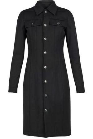 Bottega Veneta Robe-chemise en laine mélangée à poches plaquées