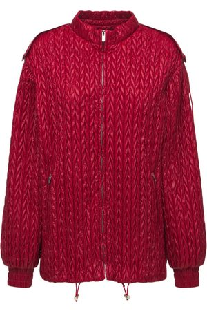 MIU MIU Nylon Chevron Puffer Jacket W/ Hood
