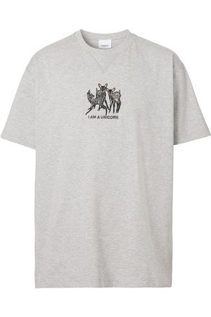 Burberry Deer-embroidered cotton T-shirt