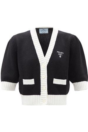 Prada Cardigans - Cardigan raccourci en laine à broderie logo