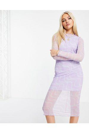 ASOS ASOSDESIGN - Robe mi-longue en tulle à manches longues avec imprimé spirales