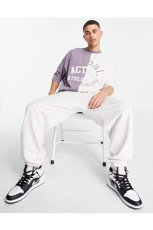 ASOS Actual T-shirt oversize avec logos effet coupé-cousu - Mauve et écru