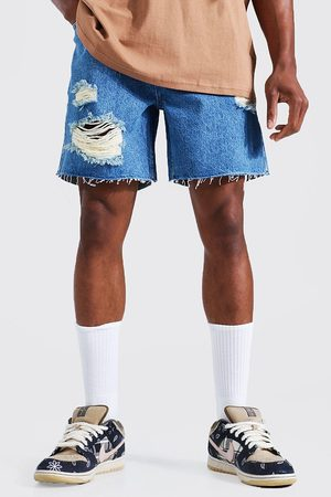 Boohoo Relaxed Fit Multi Rip Denim Short Homme