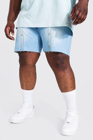 Boohoo Plus Slim Fit Popper Denim Short Homme