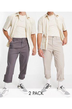 ASOS Lot de 2 pantalons chino décontractés style skateur - Anthracite et beige - Économie