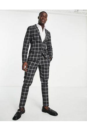 ASOS Pantalon de costume skinny à carreaux Prince de Galles - Anthracite