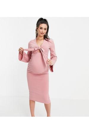 ASOS ASOS DESIGN Maternity - Robe à décolleté plongeant et manches kimono - Rose thé