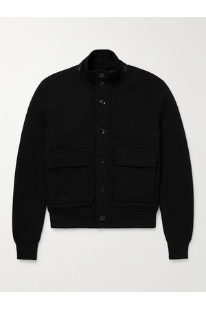 TOM FORD Leather-Trimmed Merino Wool Bomber Jacket