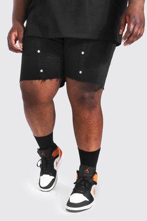 Boohoo Homme Shorts - Plus Slim Fit Popper Denim Short Homme