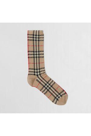 Burberry Homme Chaussettes & Bas - Chaussettes en coton et cachemire mélangés Vintage check en intarsia