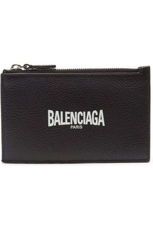Balenciaga Porte-cartes zippé en cuir grainé à imprimé logo
