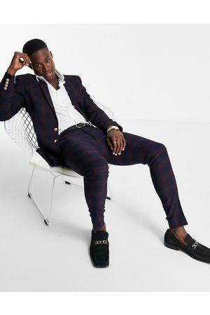 ASOS Pantalon de costume ultra skinny à carreaux et boutons dorés - Bordeaux