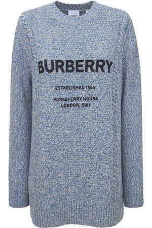 Burberry Pull-over En Maille De Laine Et Coton À Logo