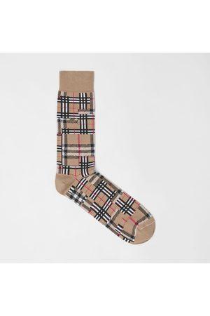 Burberry Homme Chaussettes & Bas - Chaussettes en coton et cachemire mélangés check façon patchwork