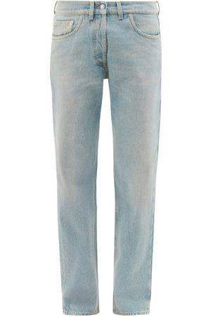 Prada Coupe droite - Jean droit en denim à plaque logo