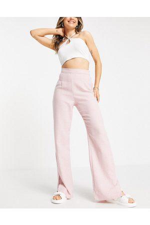 NaaNaa Pantalon taille haute à ourlet fendu - pied-de-poule