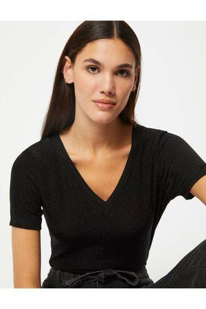 Morgan T-shirt manches courtes avec col en V femme