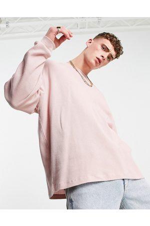 ASOS T-shirt oversize en tissu gaufré à manches longues - délavé