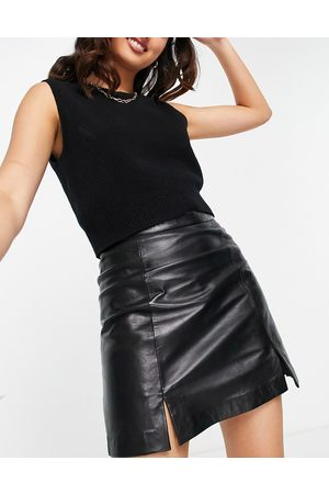 Muubaa Mini-jupe en cuir fendue sur le devant