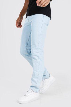 Boohoo Tall Straight Leg Distressed Hem Jean Homme