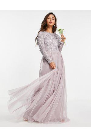 Maya Robe longue de demoiselle d'honneur en tulle à manches longues avec sequins délicats ton sur ton - lilas