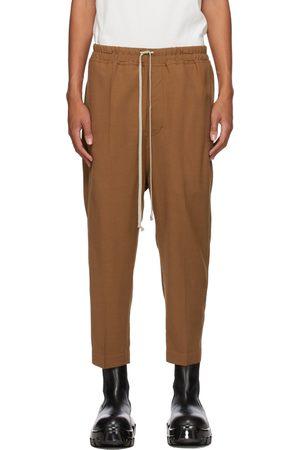 Rick Owens Homme Pantalons classiques - Pantalon écourté Astaires brun clair en laine à cordon coulissant