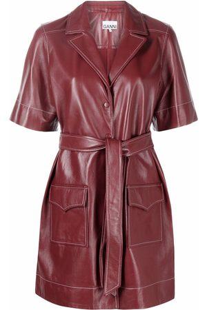 Ganni Belted leather shirt dress