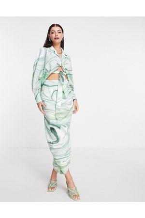 ASOS Jupe mi-longue en lin drapée sur le côté à imprimé marbré