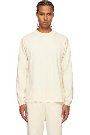 Les Tien Homme Manches longues - T-shirt à manches longues blanc cassé épais à col cheminée