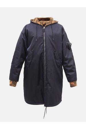 Prada Manteau en gabardine et Re Nylon à plaque logo