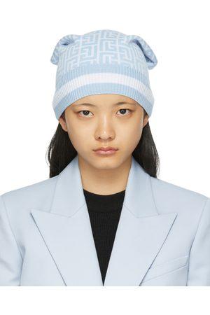 Balmain Femme Bonnets - Bonnet bleu en laine mérinos à monogramme