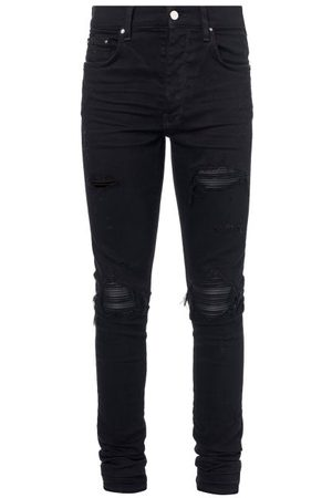 AMIRI Homme Slim - Jean slim effet vieilli à empiècements en cuir MX1