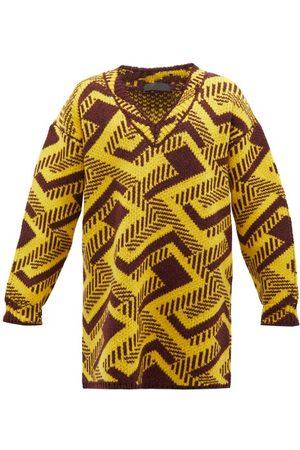 Prada Homme Pulls - Pull oversize en laine vierge à jacquard géométrique