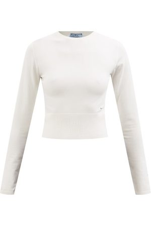 Prada Pull raccourci en laine mélangée à jacquard logo