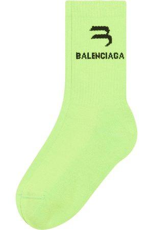 Balenciaga Chaussettes nervurées à logo intarsia