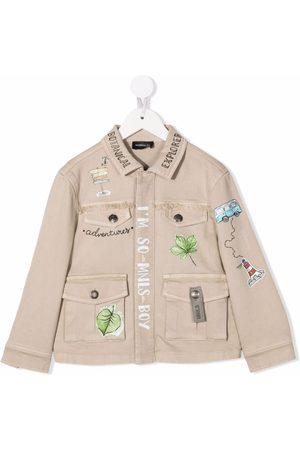 MONNALISA Vestes en jean - Leaf-print jacket