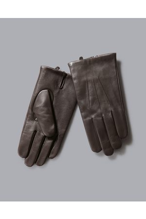Charles Tyrwhitt Leather Touch Screen Gloves - Dark Chocolate Size Large by