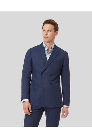 Charles Tyrwhitt Mini Grid Double Breasted Suit Wool Jacket - Mid Size 36R Regular by
