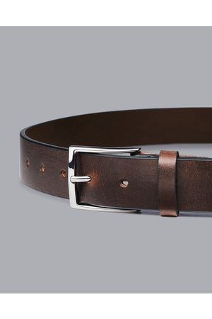 Charles Tyrwhitt Made In England Leather Chino Belt - Chocolate Size 34 by