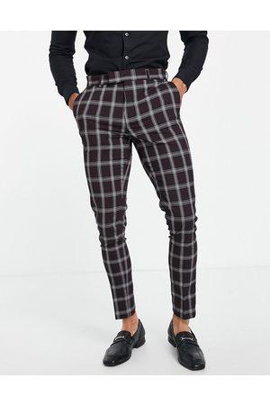 ASOS Homme Pantalons Slim & Skinny - Pantalon de costume skinny à motif grands carreaux - Bordeaux