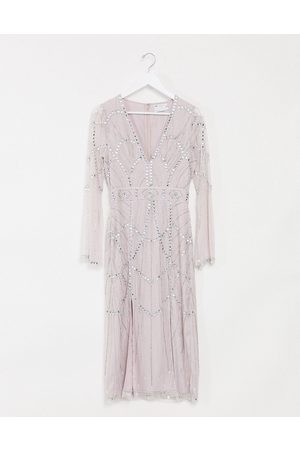 ASOS Femme Robes de soirée - Robe mi-longue ornée de pierres avec découpe et manches fendues - Blush