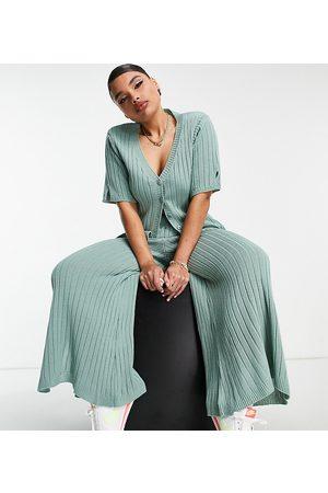ASOS Femme Pantalons larges - ASOS DESIGN Curve - Pantalon large côtelé d'ensemble en maille à ourlet fendu - sauge