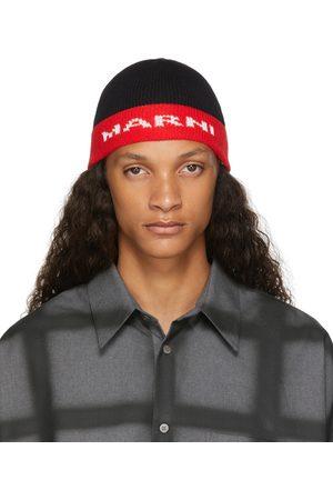 Marni Homme Bonnets - Bonnet noir et rouge à logo en maille jacquard