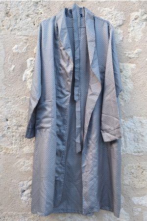 isavintagefrench Robe De Chambre Vintage Homme Polyester, Men's Dress, Peignoir Homme, Blue Dressing Gown, Country Paris
